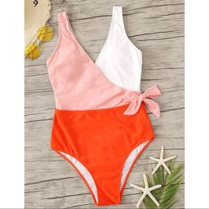 NEW Colorblock Wrap Front Bow One Piece Swimsuit